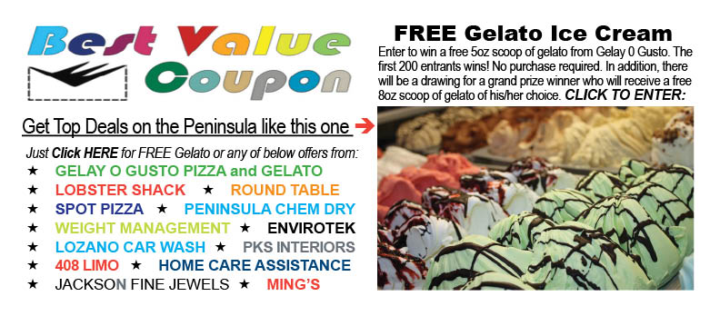 Deals  Discounts  BEST VALUE COUPONS Peninsula Coupons   FREE GELATO   Pizza,Lobster, Car Wash   FREE Peninsula Coupons