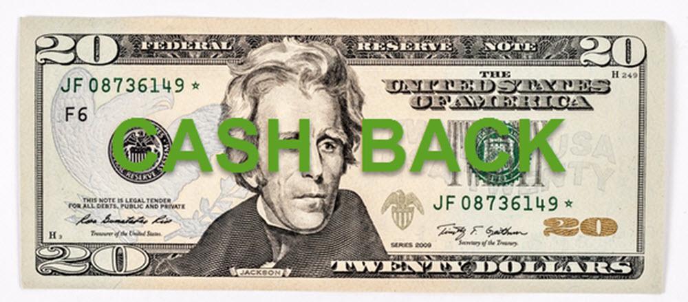 $20 cash back 1000