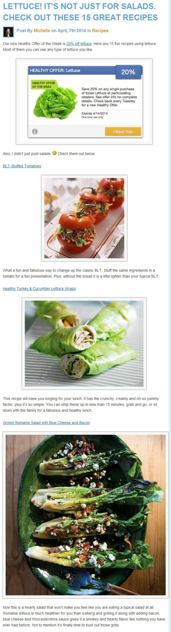 Deals  Discounts  healthy lettuce deal and recipes LET US SHOW GIVE YOU 20% OFF  LETTUCE plus  RECIPES   HEALTHY DEAL OF WEEK