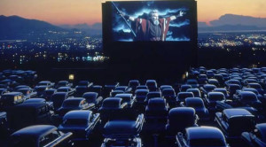 DRIVE IN MOVIE at sunset good